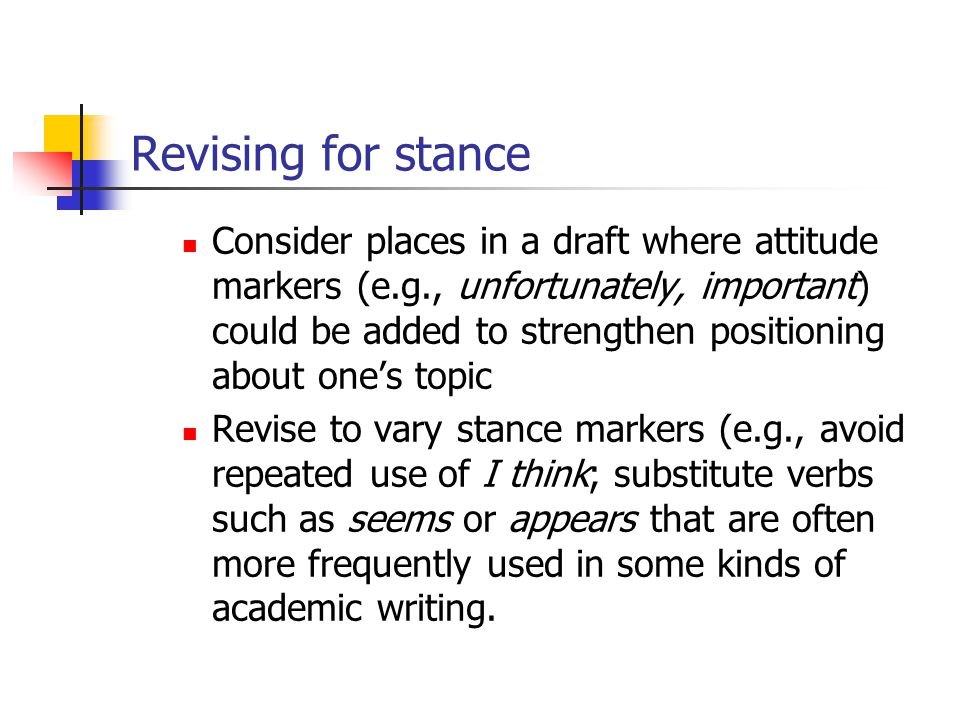 Revising for stance