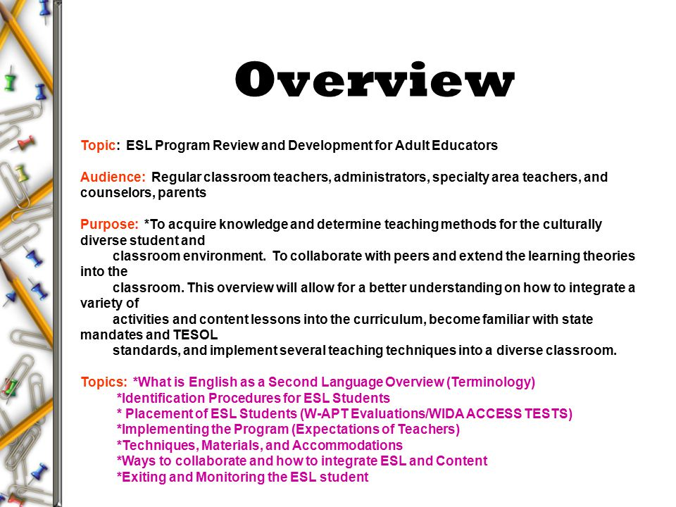 esl curriculum Esl instructors teach english to non-native english language learners and speakers learn more about the field, available programs, admissions.