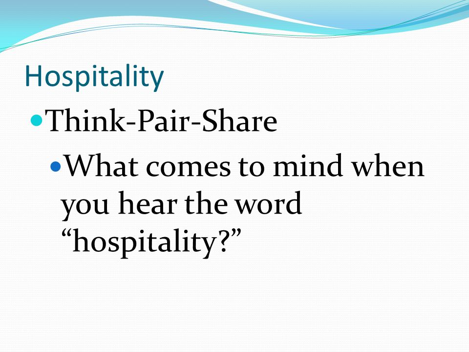 Hospitality Think-Pair-Share