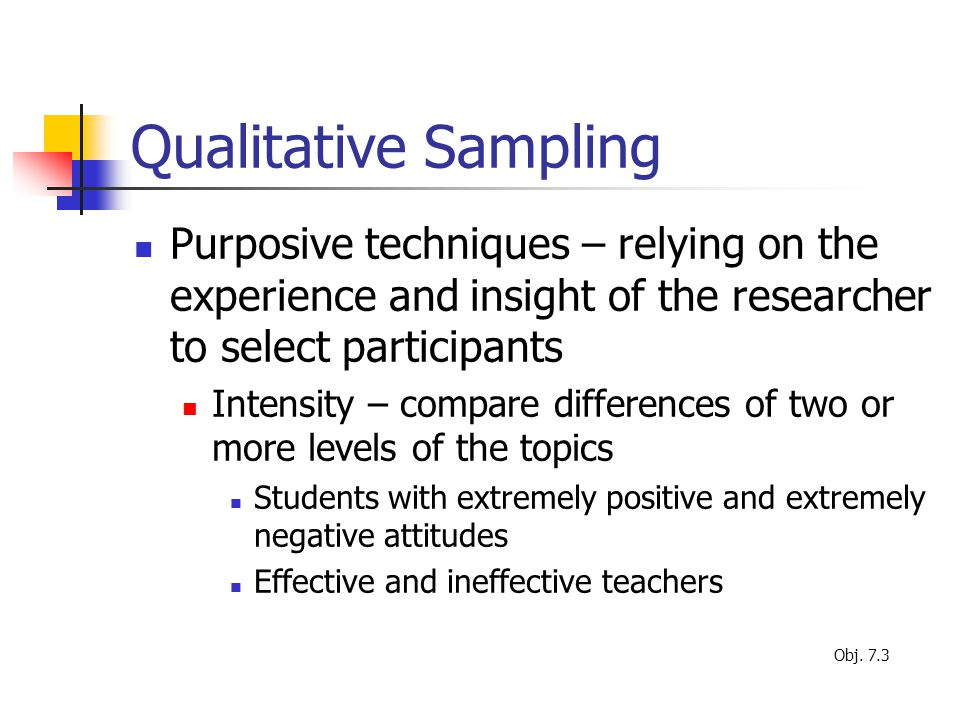 Qualitative Sampling Purposive techniques – relying on the experience and insight of the researcher to select participants.