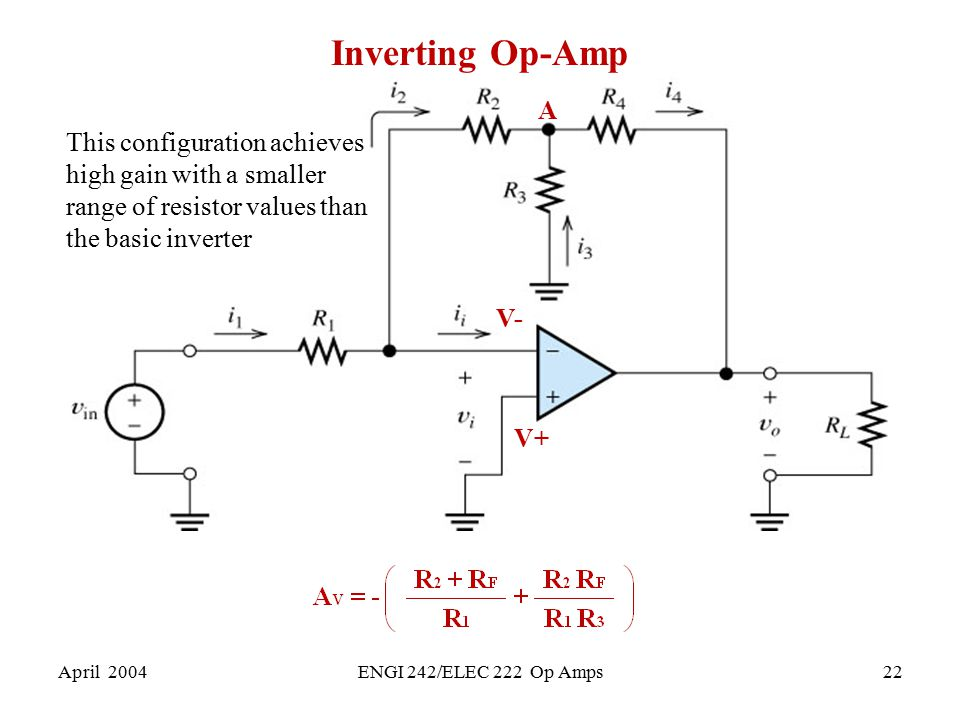 Inverting Op-Amp A. This configuration achieves high gain with a smaller range of resistor values than the basic inverter.