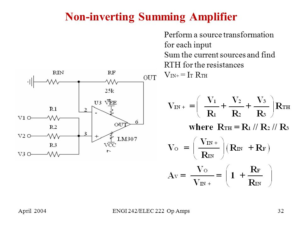 Non-inverting Summing Amplifier