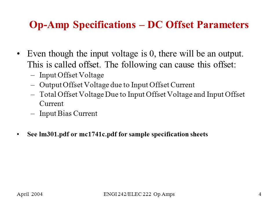 Op-Amp Specifications – DC Offset Parameters