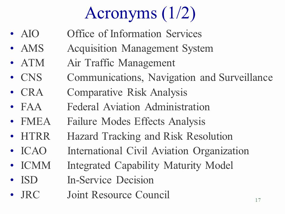 Acronyms (1/2) AIO Office of Information Services
