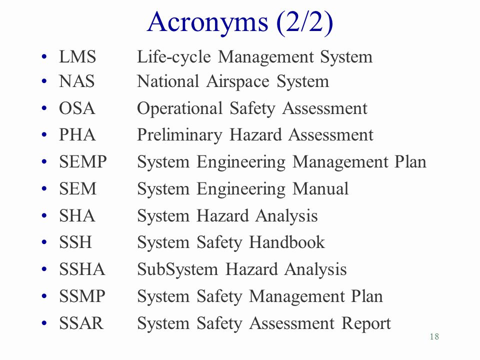 Acronyms (2/2) LMS Life-cycle Management System