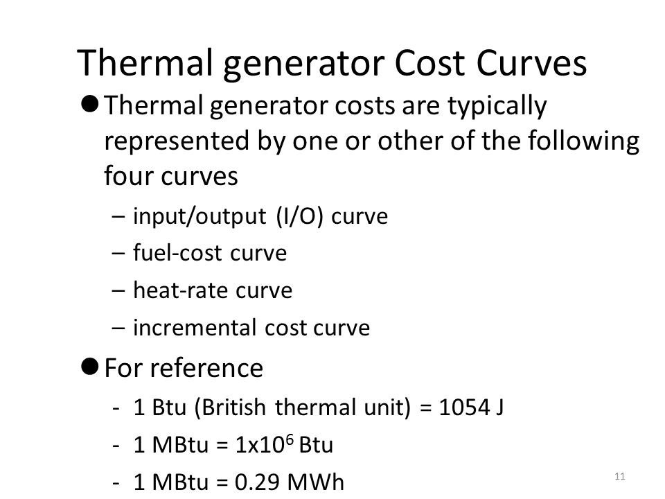 Thermal generator Cost Curves