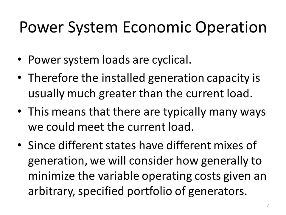 Power System Economic Operation