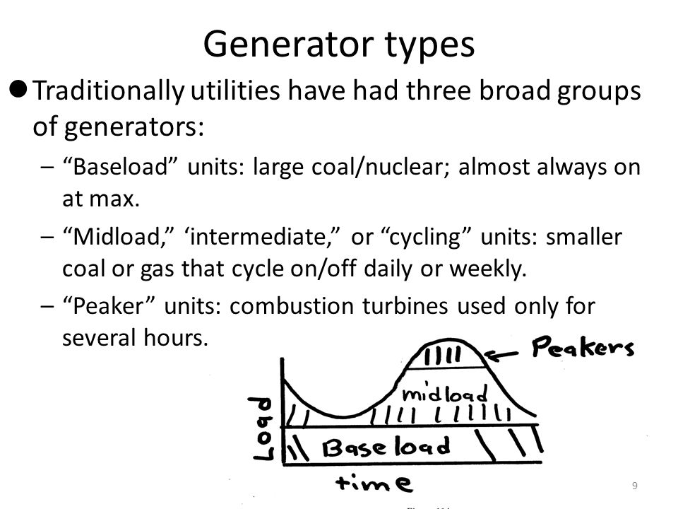 Generator types Traditionally utilities have had three broad groups of generators: Baseload units: large coal/nuclear; almost always on at max.