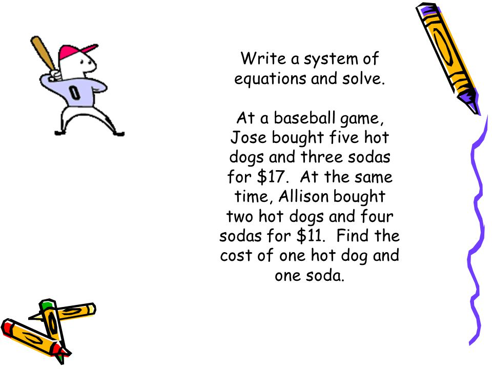 write an equation and solve