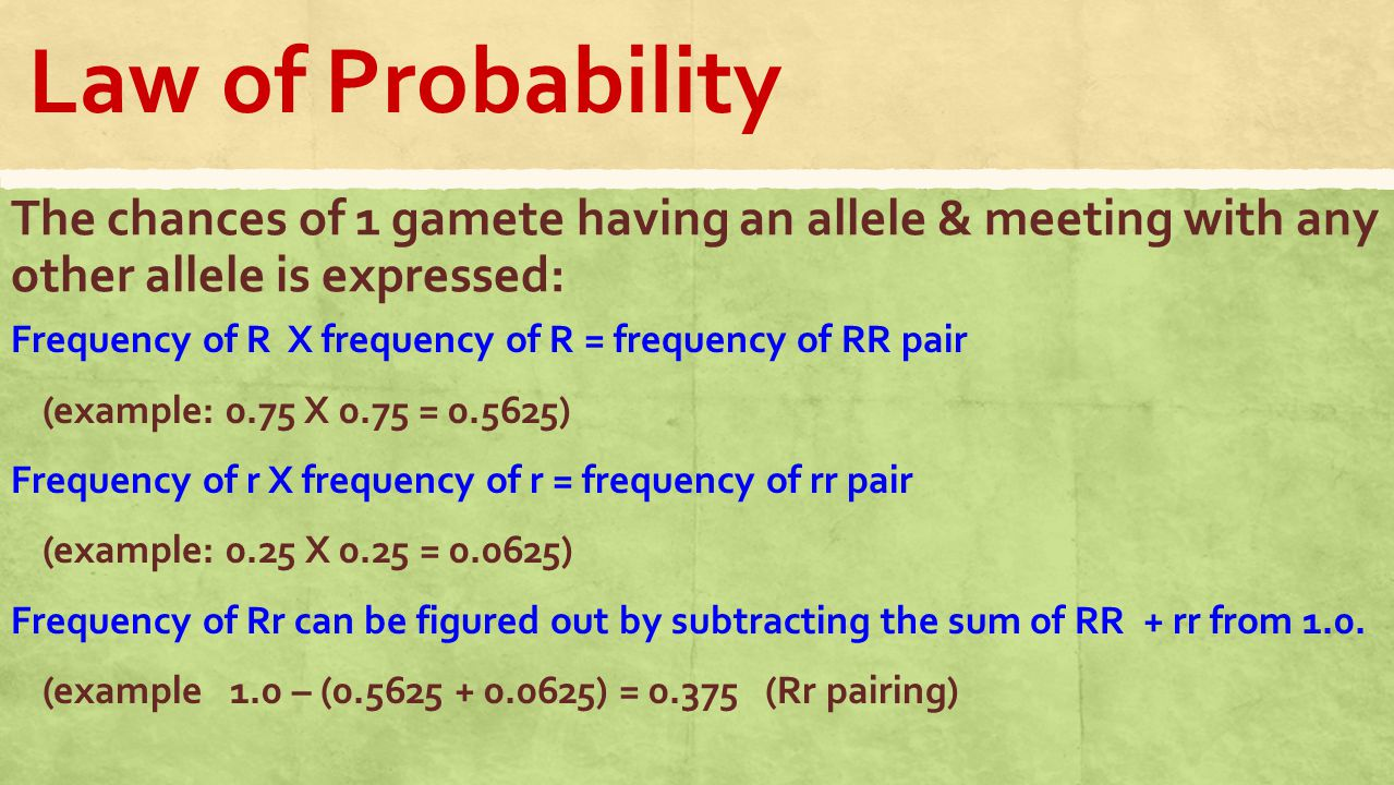 allele and probability Allele frequency is defined as the number of copies of the allele in a population divided by the sum of all alleles in a population for a heterozygous individual, if the two alleles have frequencies of p and q in a population, the probability (p) of an individual of having both alleles at a single locus is.
