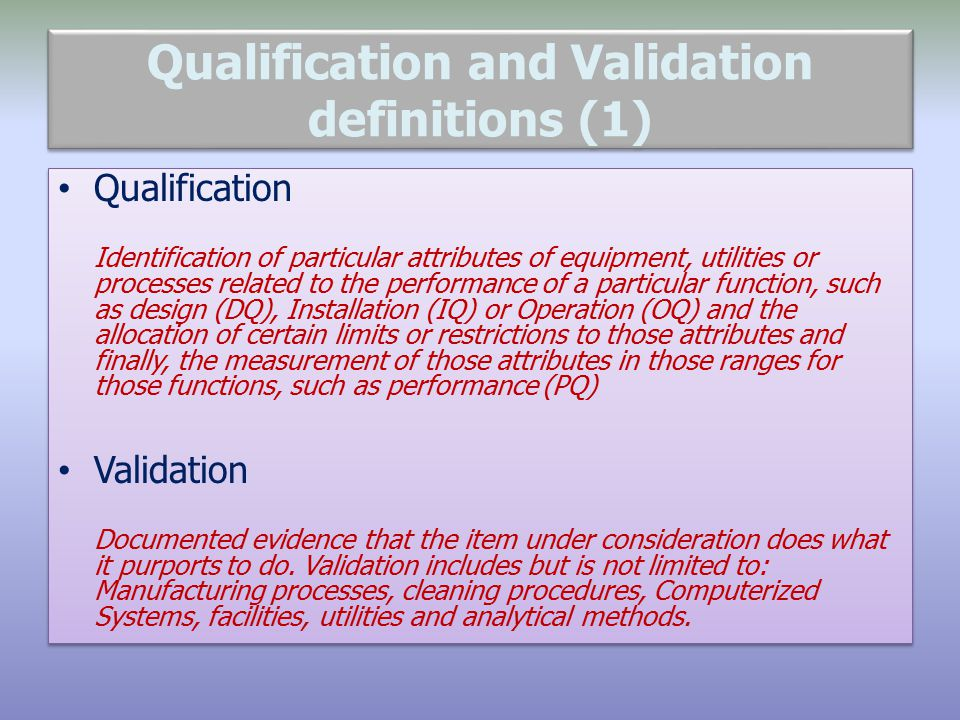 Qualification And Validation An Overview Ppt Download