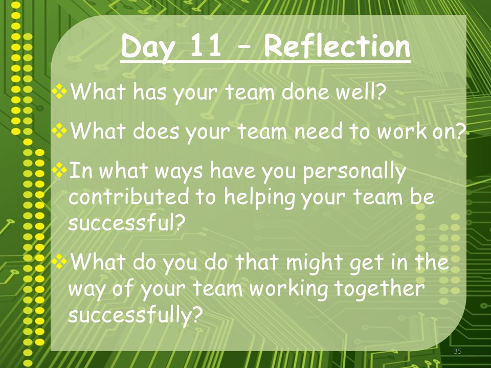 Reflection on Team Work