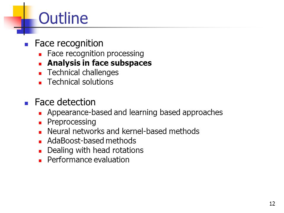 Outline Face recognition Face detection Face recognition processing