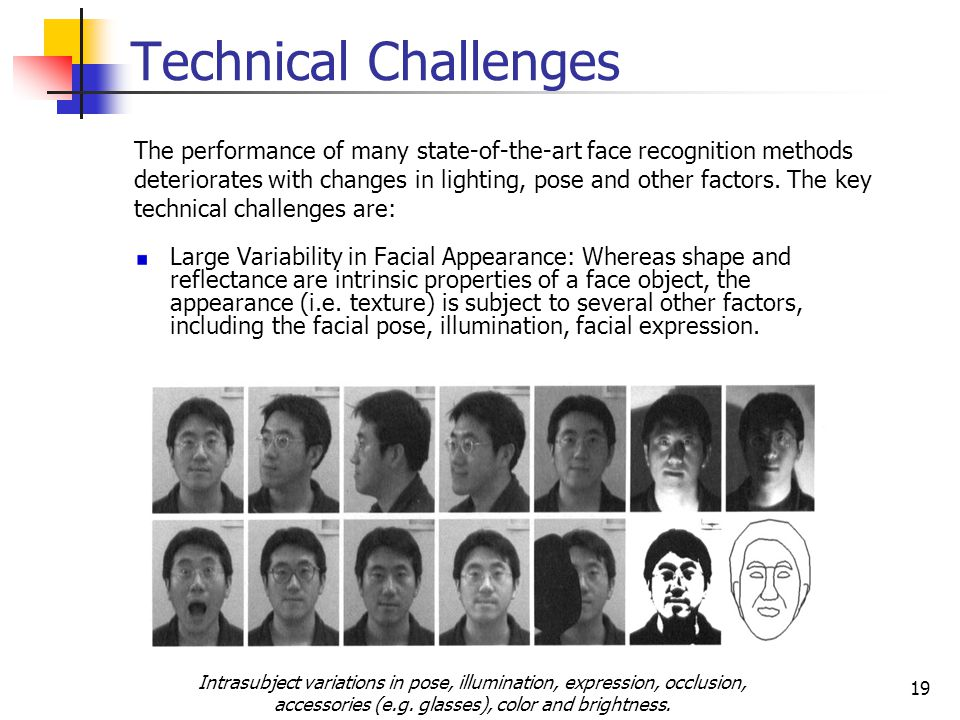 Technical Challenges The performance of many state-of-the-art face recognition methods.