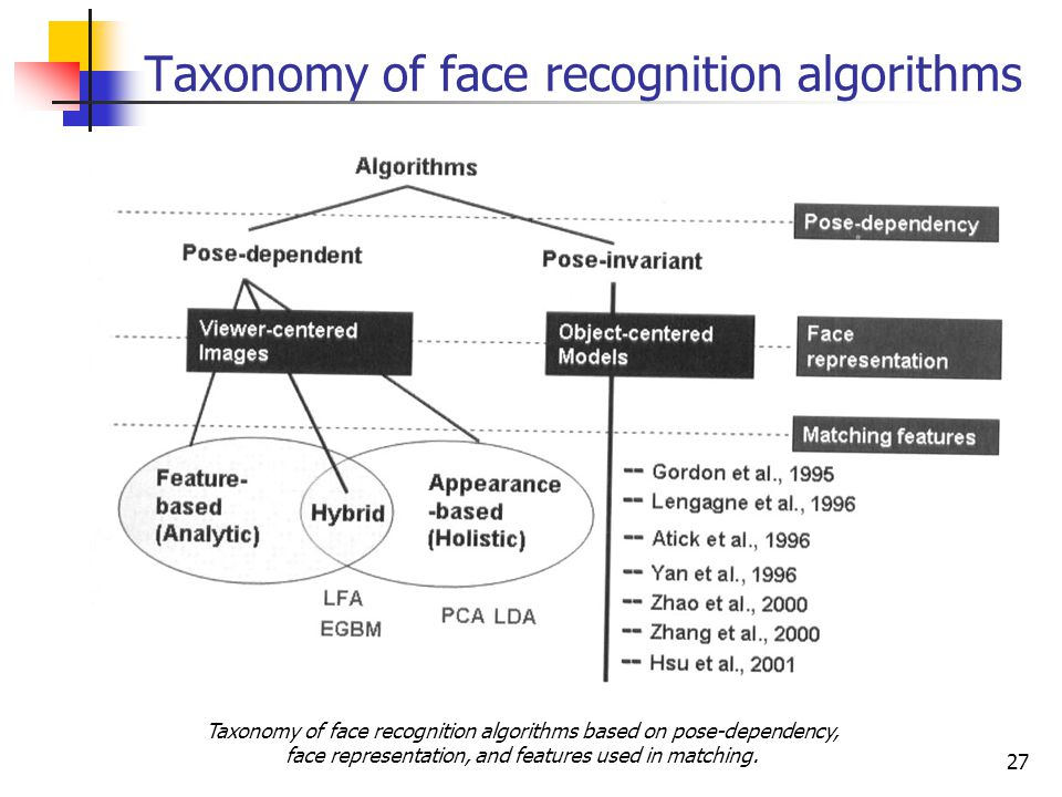 Taxonomy of face recognition algorithms