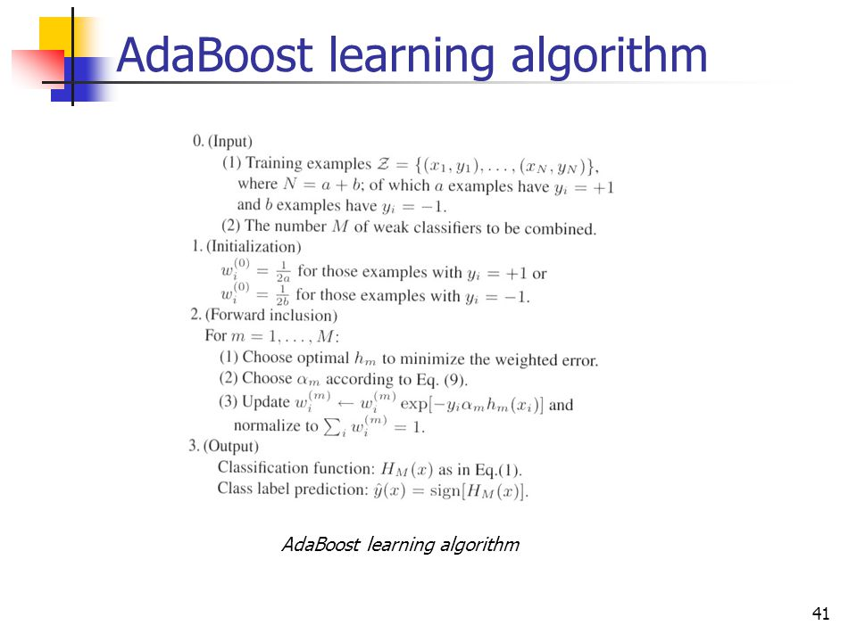 AdaBoost learning algorithm