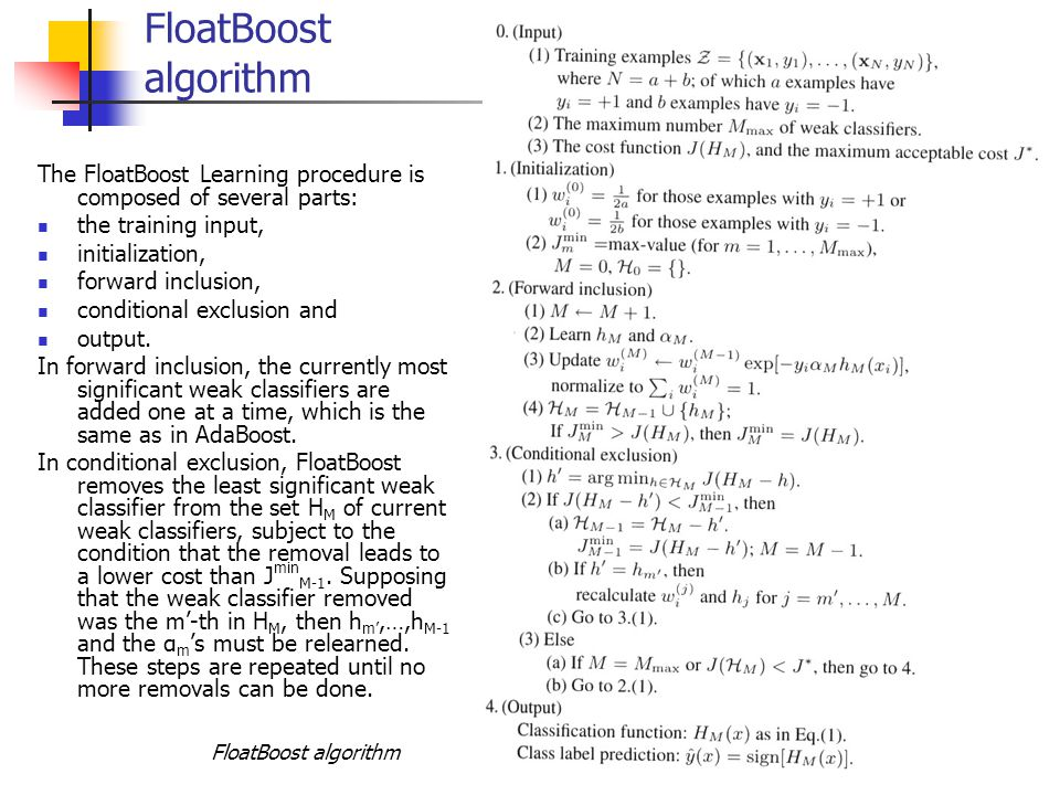 FloatBoost algorithm The FloatBoost Learning procedure is composed of several parts: the training input,