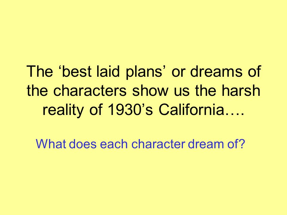 of mice and men dreams and reality Of mice and men dreams of mice and men is set in salinas, california in the 1930s great depression life was hard and men could be cruel hope might be the only escape from hard reality.