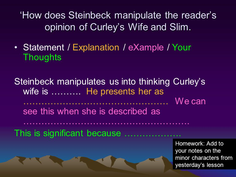how does steinbeck use the character Our writers can write a better one for you in of mice and men, steinbeck presents  lennie as a childlike character who relies on george.