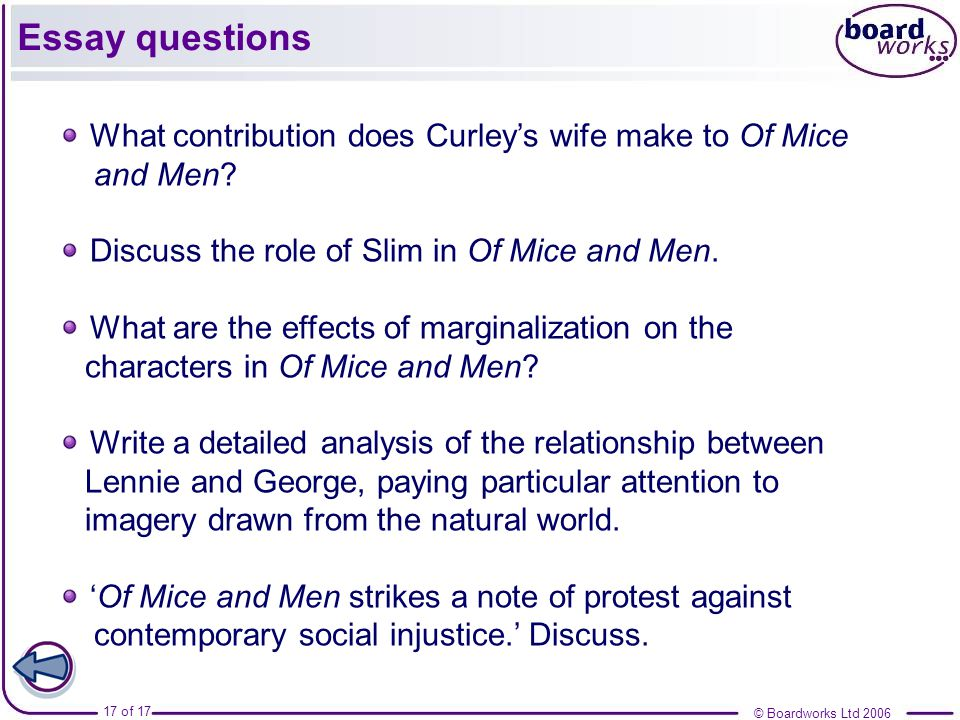 of mice and men section six ppt video online  17 essay questions what contribution does curley s wife make to of mice and men