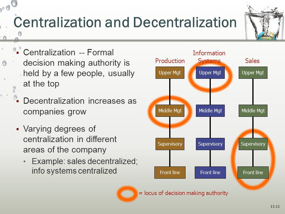 centralization and decentralization Centralization and decentralization the contrast between centralization and decentralization is to be found everywhere: in social and political life, in the state.