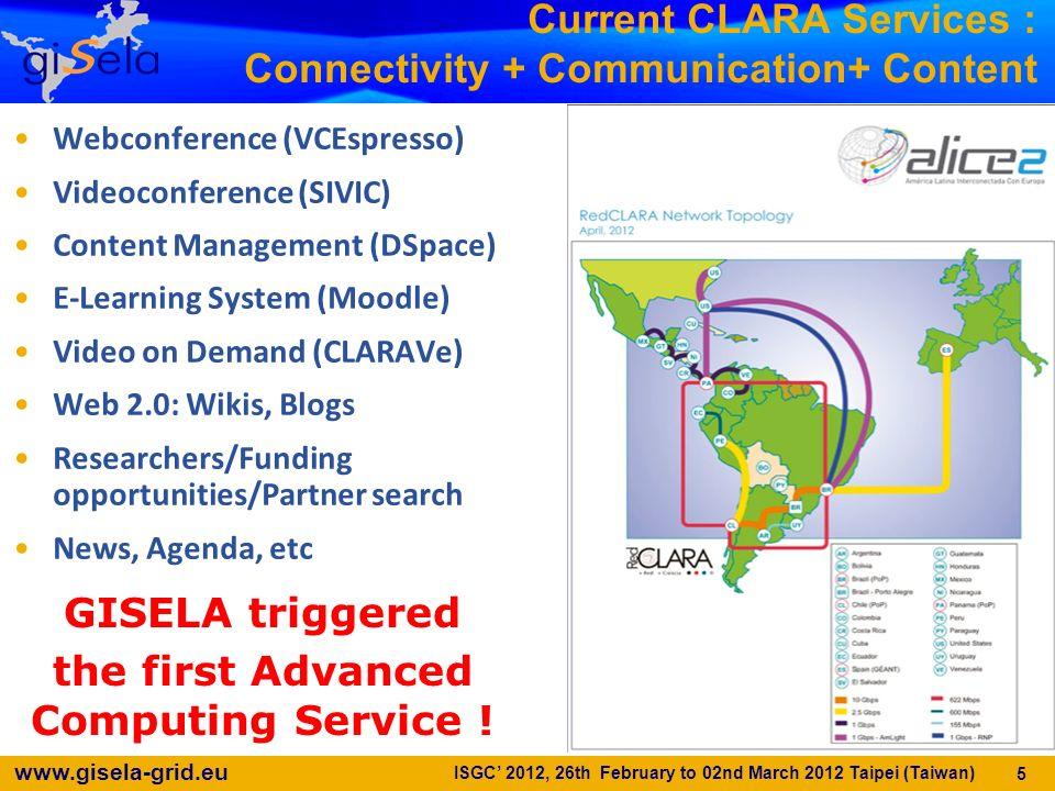 Current CLARA Services : Connectivity + Communication+ Content