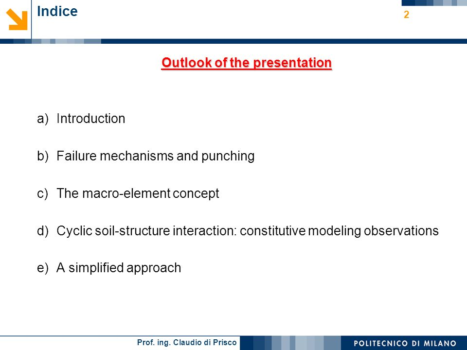 Outlook of the presentation