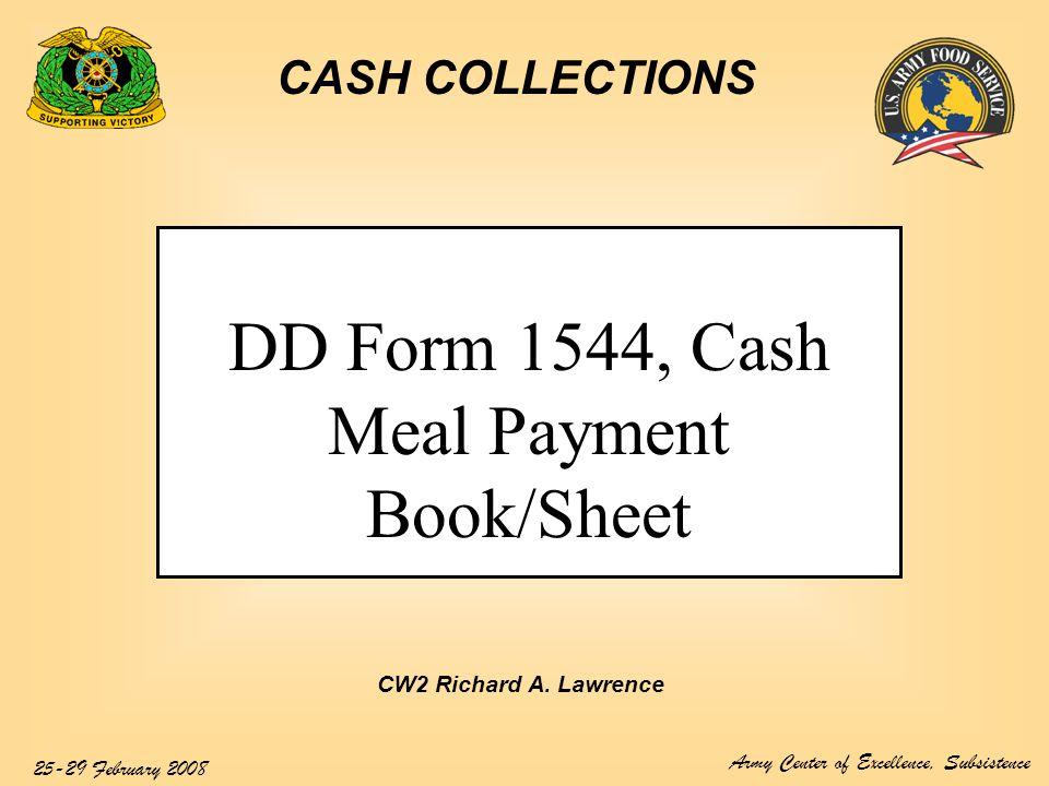 Dd Form 1544 Cash Meal Payment Booksheet Ppt Video Online Download