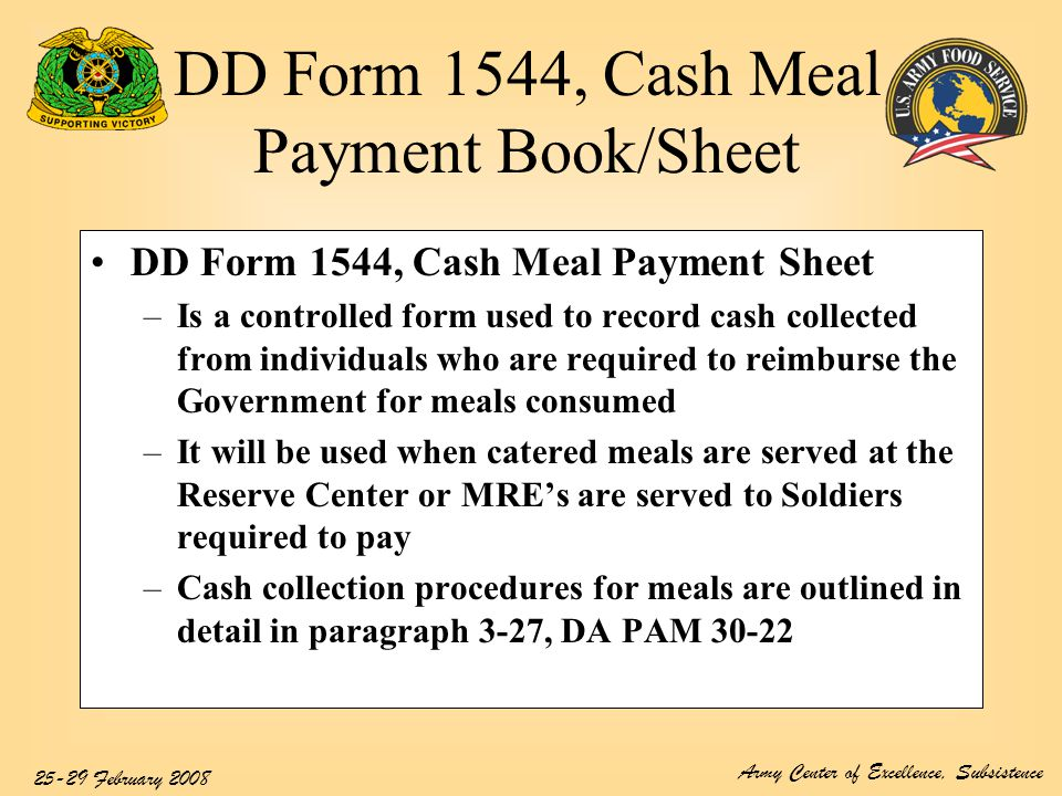 DD Form 1544, Cash Meal Payment Book/Sheet - ppt video online download