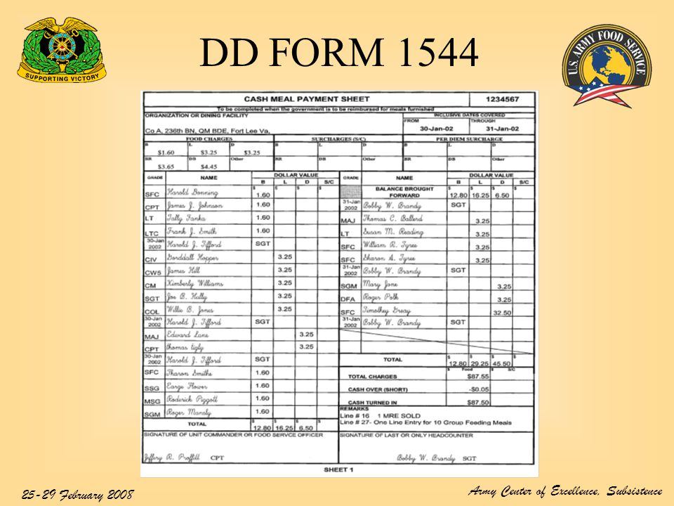 Dd Form  Cash Meal Payment BookSheet  Ppt Video Online Download