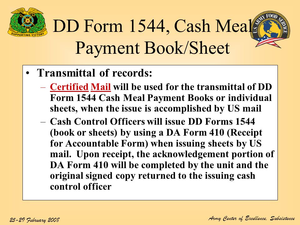 Dd Form 1544, Cash Meal Payment Book/Sheet - Ppt Video Online Download