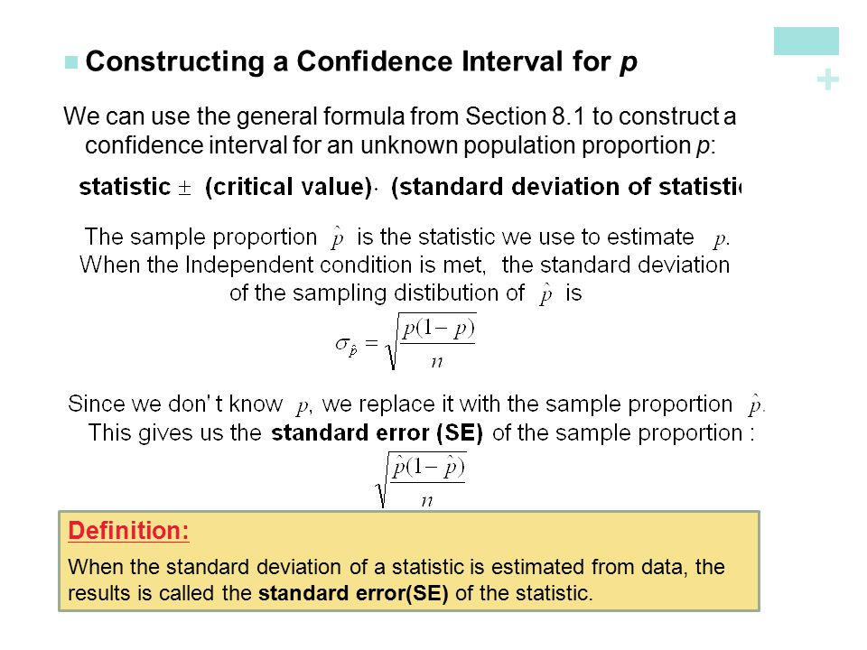 Section 82 estimating a population proportion ppt download constructing a confidence interval for p ccuart Gallery
