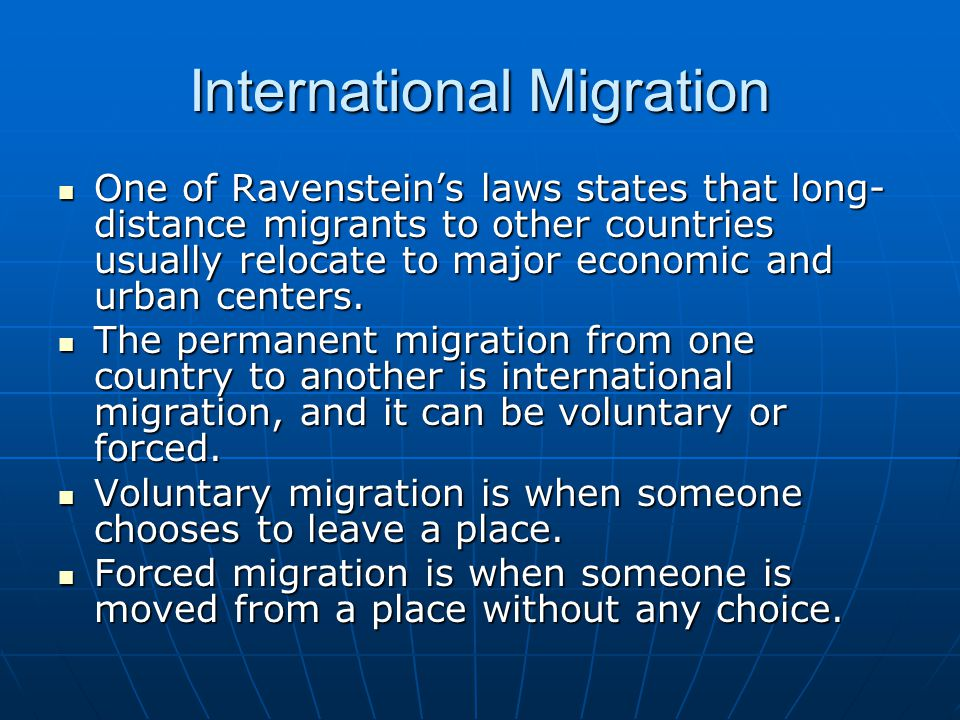 international voluntary migration Ap human geography chapter 3 vocab voluntary migration people who have been displaced within their own countries and do not cross international borders as.