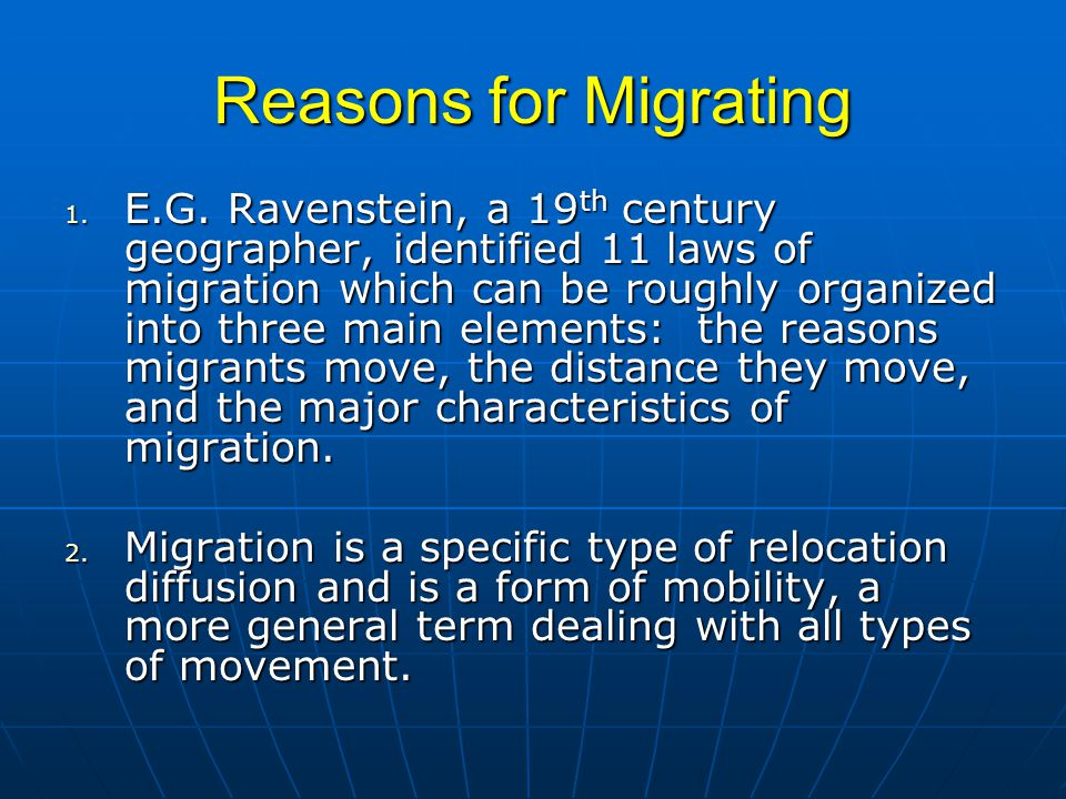 Reasons for Migrating