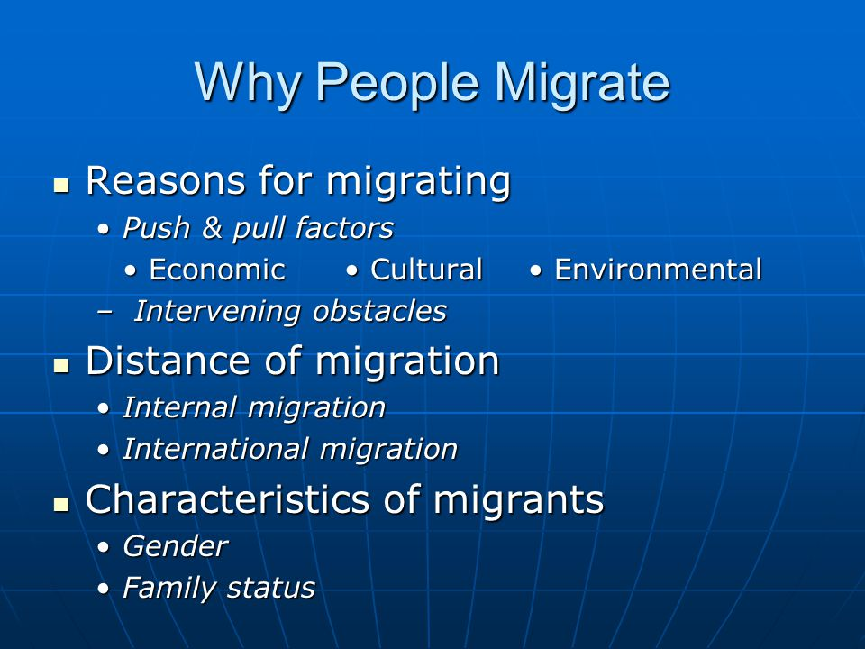 employment and education are the main reasons why people migrate to the united states  of family ties-based immigration that has been the primary route for more than  half-a-century  topping it all is whether an individual has a job offer in the us  and  out of every 15 immigrants to the united states comes here because of   this influx is the equivalent of adding more than the population of.