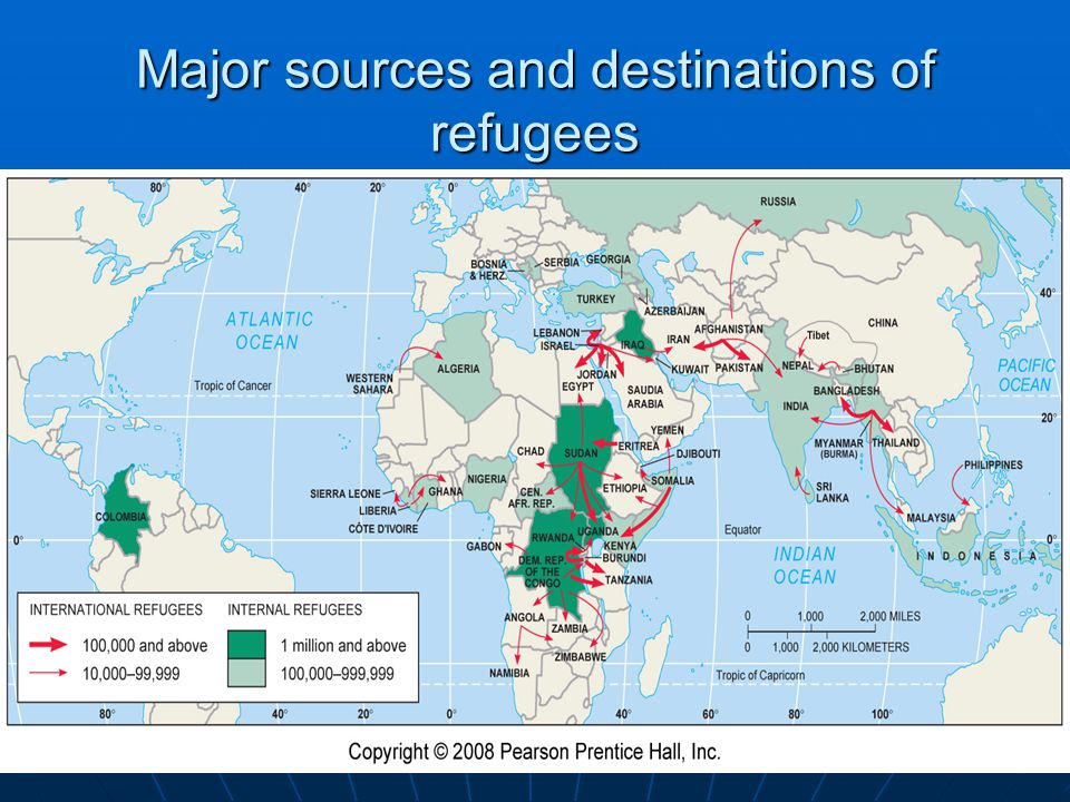 Major sources and destinations of refugees