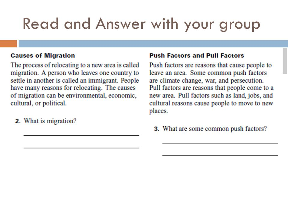 Read and Answer with your group