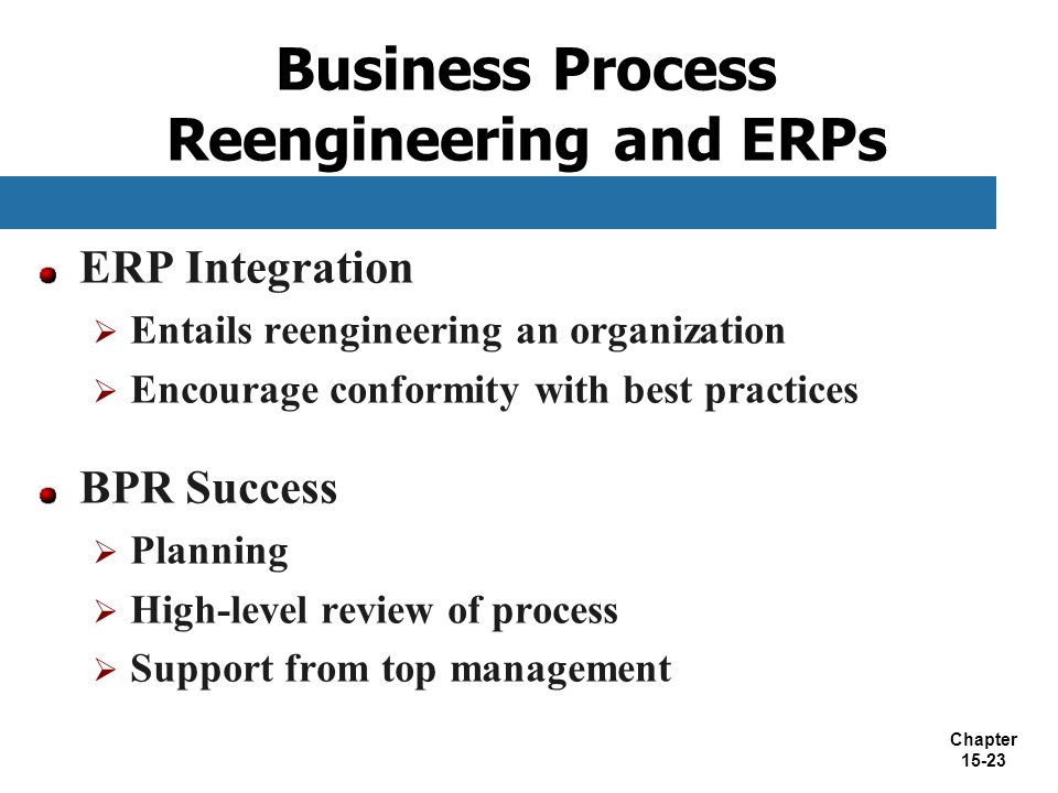 Business Process Reengineering and ERPs