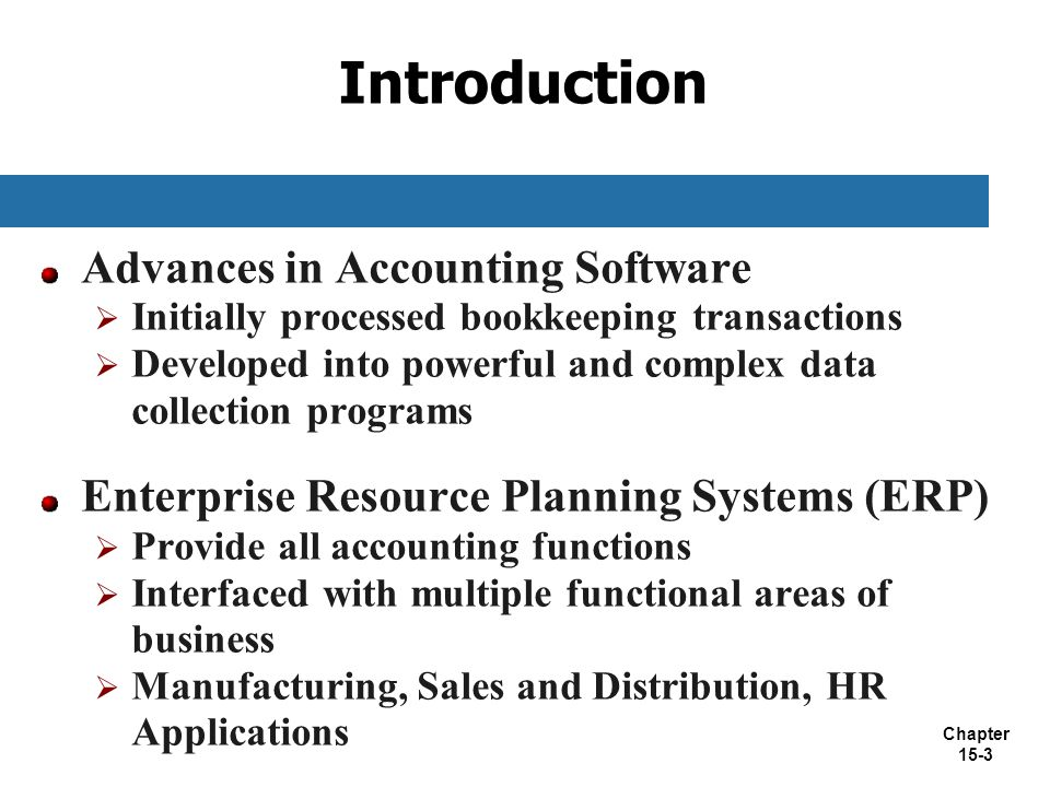 Introduction Advances in Accounting Software
