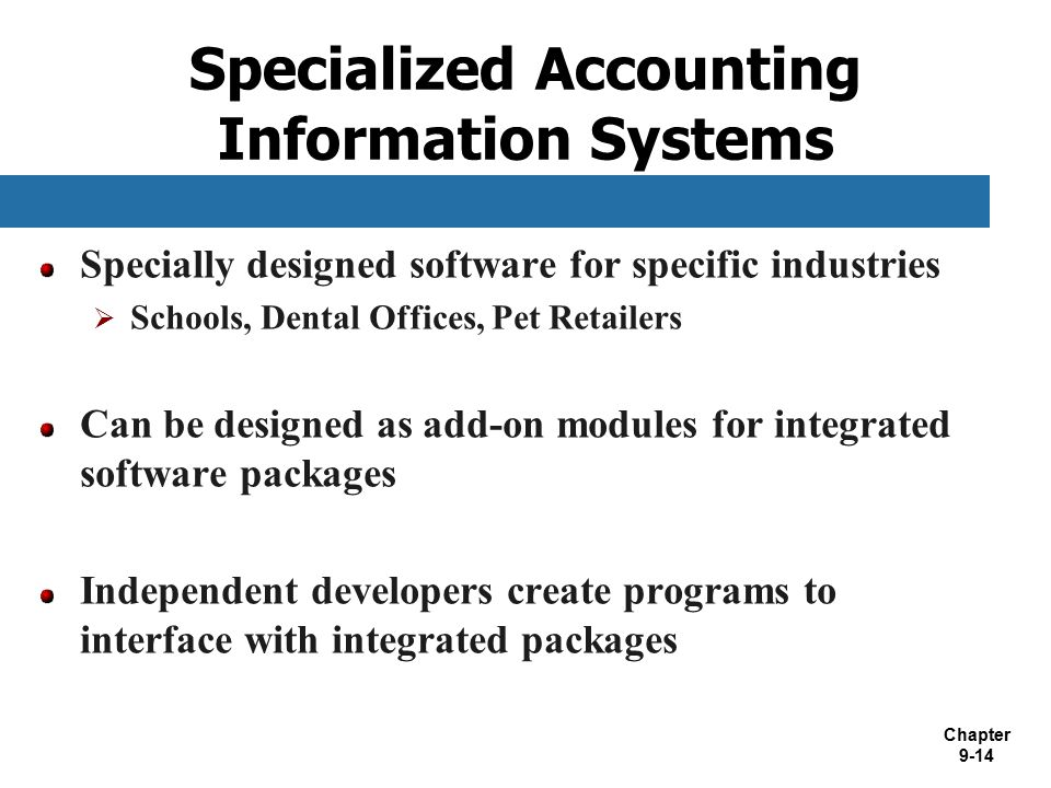 Specialized Accounting Information Systems