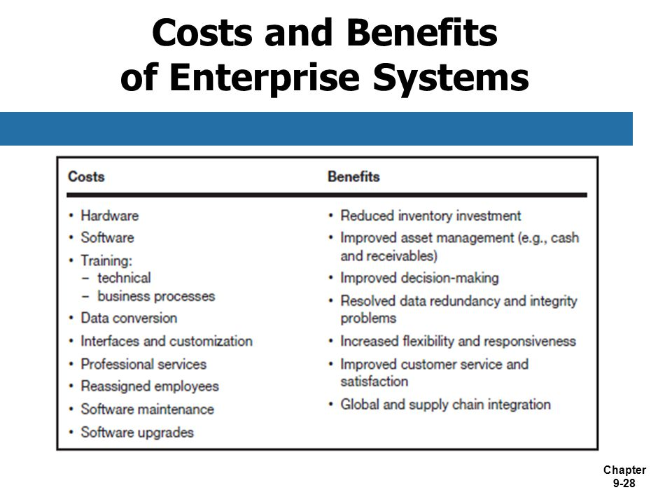 Costs and Benefits of Enterprise Systems