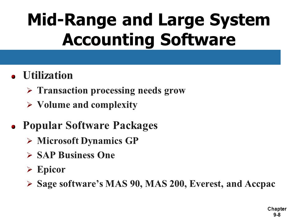 Mid-Range and Large System Accounting Software