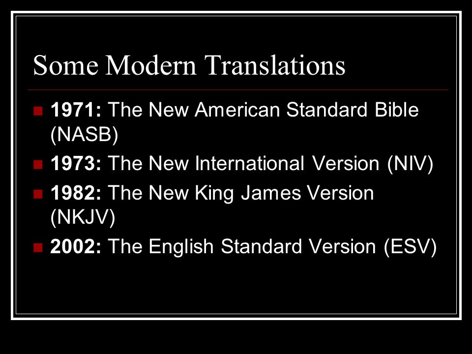 Some Modern Translations