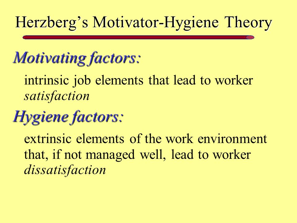 herzberg's 'good work' theory Herzberg's motivation hygiene theory the psychologist frederick irving herzberg (1923-2000) extended the work of maslow and proposed a new motivation theory popularly known as herzberg's motivation hygiene (two-factor) theory  reported good feelings were generally associated with job satisfaction whereas bad feelings.