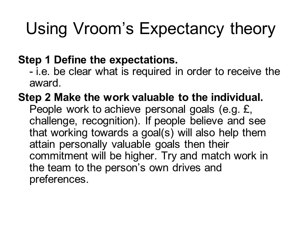 define motivation explain how the expectancy theory works essay Equity & expectancy theory of motivation essay b  sample on equity & expectancy theory of motivation  define motivation, explain how the expectancy theory .