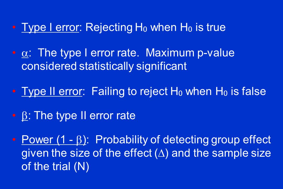 Type I error: Rejecting H0 when H0 is true