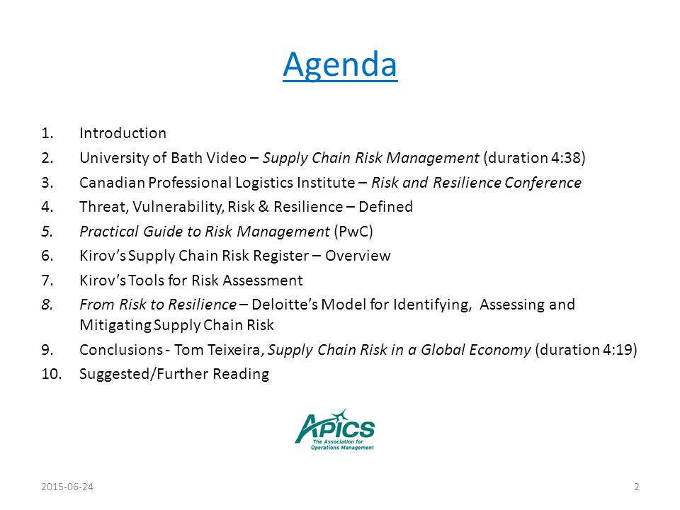 Agenda Introduction. University of Bath Video – Supply Chain Risk Management (duration 4:38)