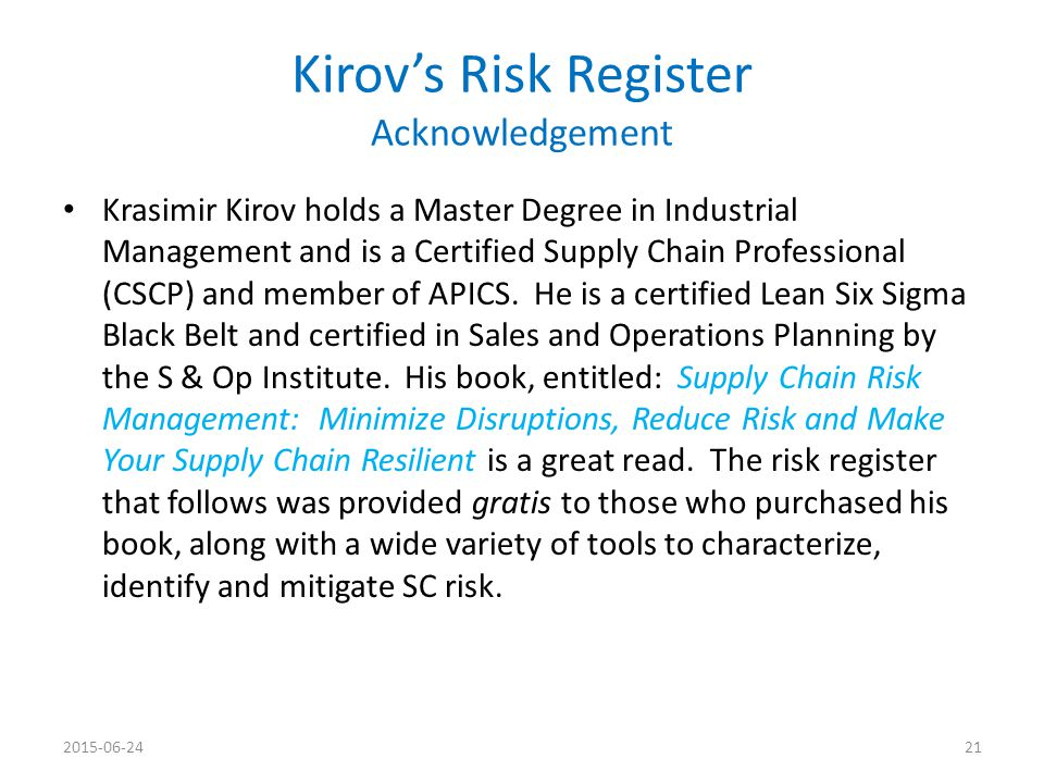 Kirov's Risk Register Acknowledgement