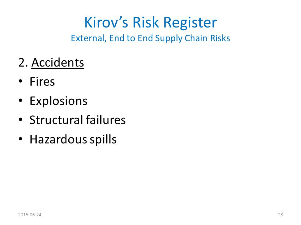 Kirov's Risk Register External, End to End Supply Chain Risks