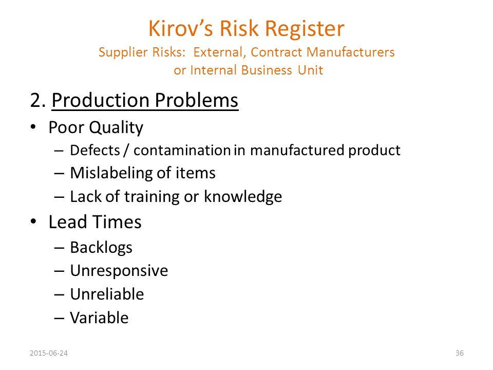 Kirov's Risk Register Supplier Risks: External, Contract Manufacturers or Internal Business Unit